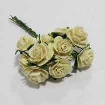 Papierové kvety - open roses cream(10ks, 1,5cm)
