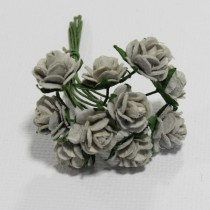 Papierové kvety - open roses grey (10ks, 1,0cm)