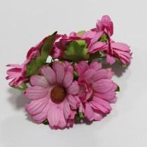 Papierové kvety - ružové chryzanétny 5ks