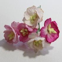 Papierové kvety - cherry blossoms ružové 5ks