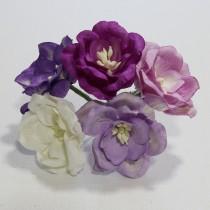 Papierové kvety - magnolia fiallové 5ks