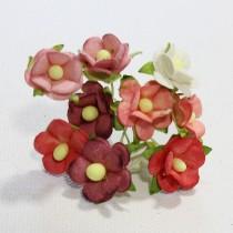 Papierové kvety - sweethearts 10ks červeno/biele