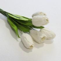 Papierové kvety - biele tupipány 5ks