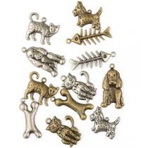 Kovové ozdoby - mačky a psy