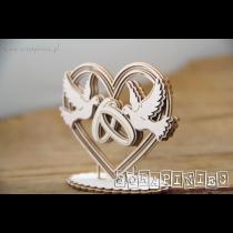 Lepenkový výrez - 3D srdce s holubicami