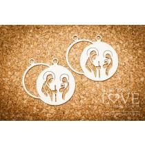Lepenkový výrez -  Holy Family in a Christmas ball