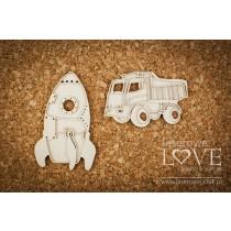 Lepenkový výrez - Rocket and truck