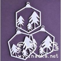 Lepenkový výrez - vianočné gule č.1