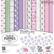 Sada papierov - Color of puppies girl 15,2x15,2 cm