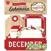 Papierové výseky - I Love Christmas Frames & Tags Ephemera