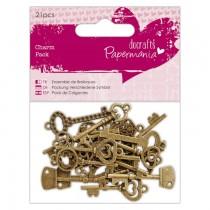 Kovové ozdoby - vintage kľúče 21ks