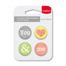 Kovové samolepiace odznaky You and Me