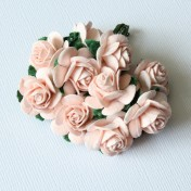 Papierové kvety - open roses ružové 10ks (2cm)