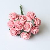 Papierové kvety - open roses pink 10ks (2cm)