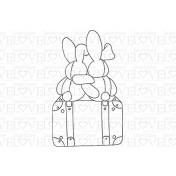 Gumená pečiatka - Rabbits on luggage