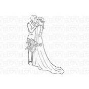 Gumená pečiatka - Wedding Couple Kissing