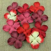 Papierové kvety - červené hortenzie  2,5 cm