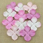 Papierové kvety - ružové hortenzie  2,5 cm