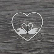 Lepenkový výrez -  labute v srdci