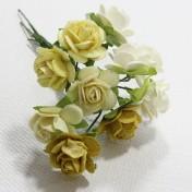 Papierové kvety - open roses žlté (10ks, 1,5cm)