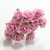 Papierové kvety - open roses ružové (10ks, 1,5cm)
