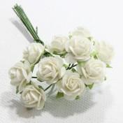 Papierové kvety - open roses biele (10ks, 1cm)