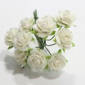 Papierové kvety - open roses biele (10ks, 1,5cm)