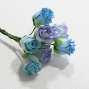 Papierové kvety - ružičky modré 8 ks