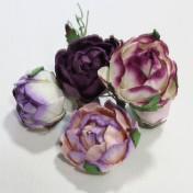 Papierové kvety - english roses fialové 5ks