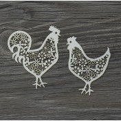 Lepenkový výrez - kohút a sliepka
