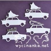 Lepenkový výrez - vianočné autá
